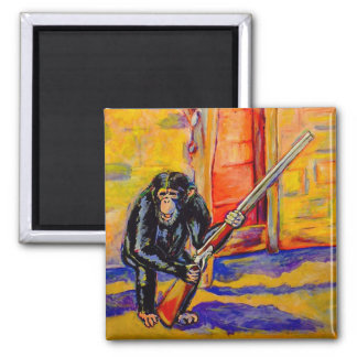 Schimpanse mit einem Gewehr-Magneten Quadratischer Magnet