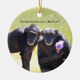 Schimpanse-Verzierung - Annie u. Foxie Rundes Keramik Ornament