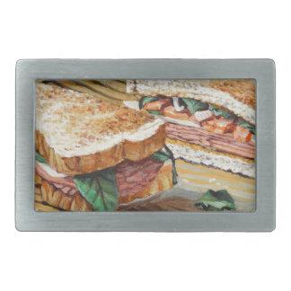 Schinken-, Salami-und Käse-Sandwich Rechteckige Gürtelschnallen