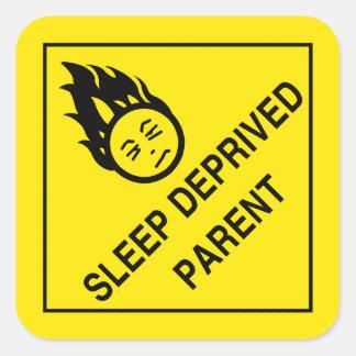 Schlaf beraubte Elternteil-Aufkleber Quadrat-Aufkleber
