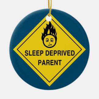 Schlaf beraubtes Elternteil Rundes Keramik Ornament