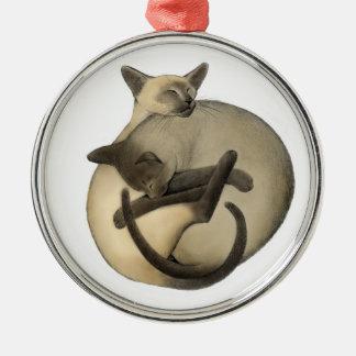 Schlafenball der siamesische Katzen-Verzierung Silbernes Ornament