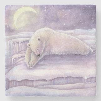 SchlafenEisbär-Winter-Szenen-Mond-Kunst Steinuntersetzer