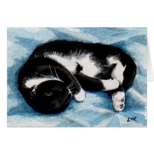 SchlafenSmokings-Katze Paiting Anmerkungs-Karte Mitteilungskarte