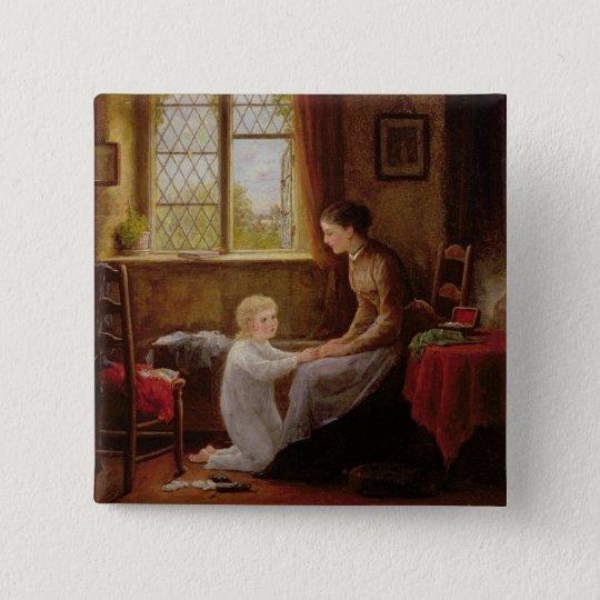 Schlafenszeit, 1890 (Öl auf Platte) Quadratischer Button 5,1 Cm