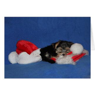 Schläfrige Welpe Weihnachtskarte Grußkarte