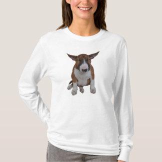 Schläfriger Stier-Terrier-Welpen-langer Hülsen-T - T-Shirt