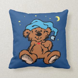 Schläfriger Zeit-Bärn-Mond und Sterne Kissen