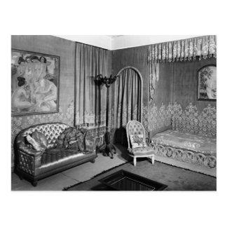 Schlafzimmer, das Jeanne Lanvin c.1920-25 gehört Postkarte