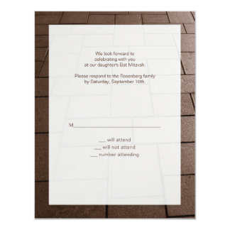 Schläger Mitzvah Bimah Antwort-Karte 10,8 X 14 Cm Einladungskarte