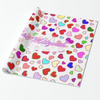 Schläger Mitzvah rosa multi Herz-Packpapier Geschenkpapier