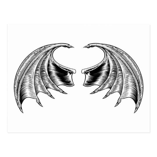 Schläger-oder Drache-Flügel Postkarte