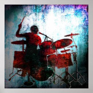 Schlagzeuger-Pop der Farbe, Copyright Karen J Will Poster