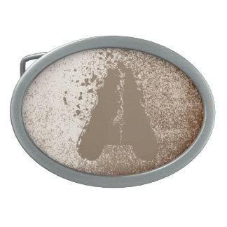 Schlamm-Liebhaber Brown und Elfenbein-Spritzen-Art Ovale Gürtelschnallen