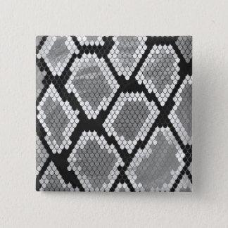 Schlange Grauer, Weiß-und Schwarz-Druck Quadratischer Button 5,1 Cm