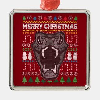 Schlangen-Tier-frohe Weihnacht-hässliche Quadratisches Silberfarbenes Ornament