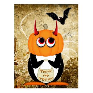 Schlechte Pinguin-Halloween-Postkarte Postkarte