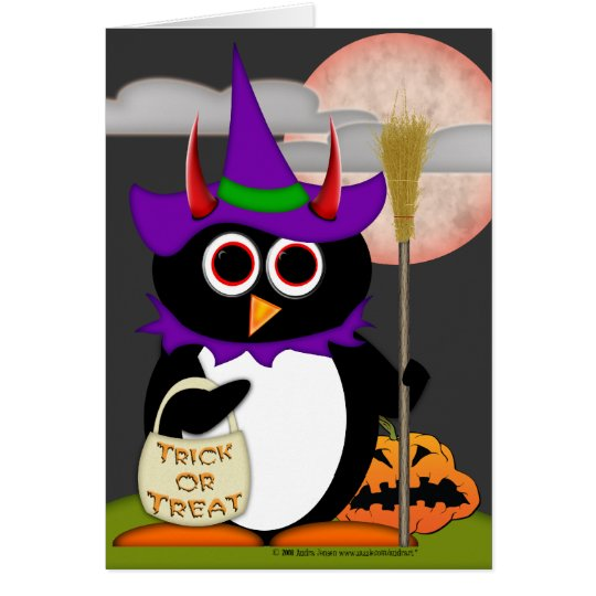 Schlechte Pinguin-Hexe Grußkarte