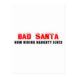Schlechte Sankt, die jetzt freche Elfe anstellt Postkarte