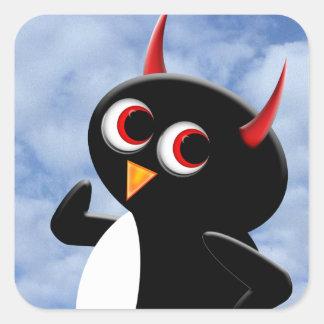 Schlechter PinguinPoser Quadratischer Aufkleber