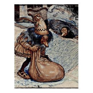 Schleppangel mit seiner Hand in einer Tasche Postkarte