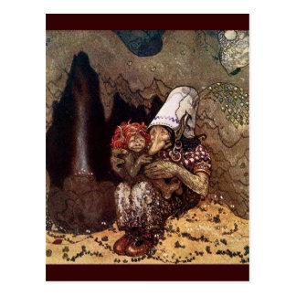 Schleppangel-Mutter neben einem Lagerfeuer Postkarte