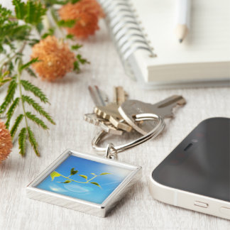 Schleppende Rebe themenorientiertes kleines Silberfarbener Quadratischer Schlüsselanhänger