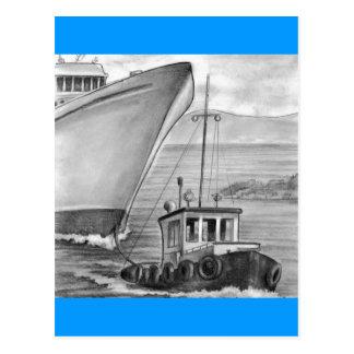 Schlepper-Boots-Schleppen-Kreuzschiff Postkarten