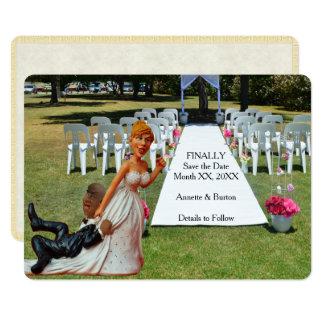 Schließlich Save the Date lustige Interracial 12,7 X 17,8 Cm Einladungskarte