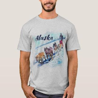 Schlitten (AK)hundeteam Aquarellmalerei Alaskas A T-Shirt