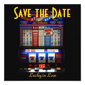 Schlitz-Maschine Las Vegas Save the Date Quadratische 13,3 Cm Einladungskarte