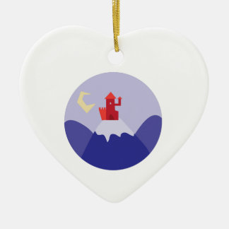 Schloss auf Hügel Keramik Herz-Ornament