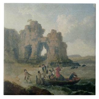 Schloss-Felsen (Flatholm Insel), Bristol-Kanal, 17 Fliese