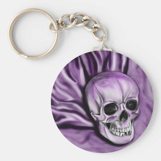 Schlüsselkette des lila Schädels Standard Runder Schlüsselanhänger