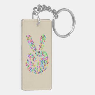 Schlüsselkette mit dem Friedenszeichen bunt Schlüsselanhänger