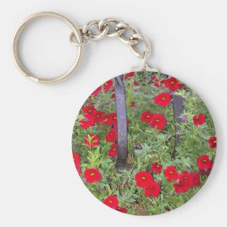 Schlüsselkette mit roten Blumen Schlüsselanhänger