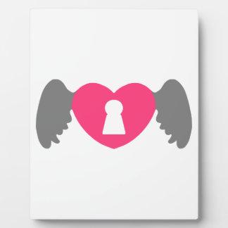 Schlüsselloch-Herz-Flügel Grau-Rosa Fotoplatte