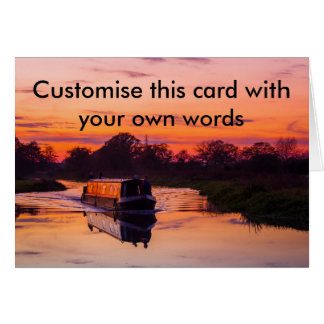 Schmales Boot am Sonnenuntergang Karte