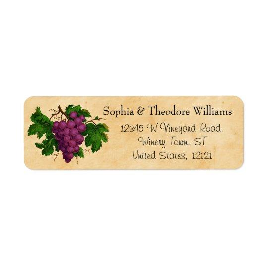 Schmeckende Party-Vintage lila Trauben des Rückversand-Adressaufkleber