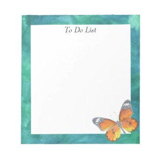 Schmetterling auf blauem/grünem Aquarell Notizblock