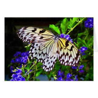 Schmetterling auf blauen Blumen Karte