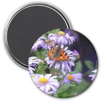 Schmetterling auf Blumen Runder Magnet 7,6 Cm