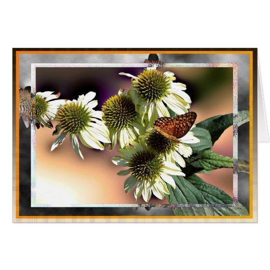 Schmetterling auf weißem Coneflowers Grußkarte