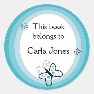 Schmetterling Buchzeichen-Dieses Buch gehört Runder Aufkleber
