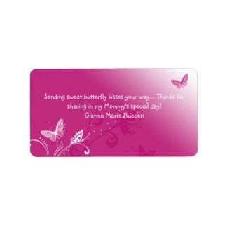 Schmetterling-Kuss-rosaentwurf, süßen Butte Adressaufkleber