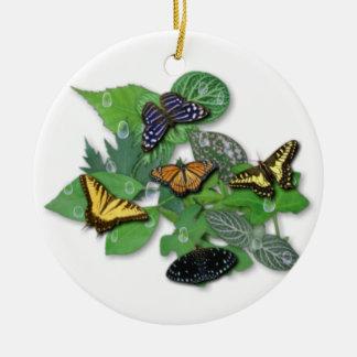 Schmetterlinge mit Blätter und Regentropfen Keramik Ornament