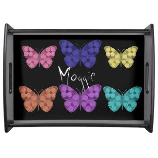 """""""Schmetterlinge"""" Multi-Farben /Monogram Serviertablett"""
