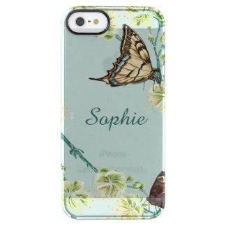 Schmetterlinge und Kirschblüten personalisiert Durchsichtige iPhone SE/5/5s Hülle