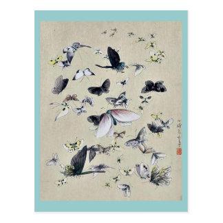Schmetterlinge und Motten Ukiyoe Postkarte