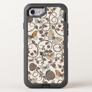 Schmetterlinge und Rosen auf Creme OtterBox Defender iPhone 8/7 Hülle